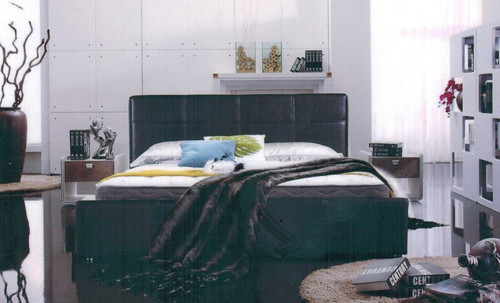 DOUBLE NEW YORK  LEATHER OR FABRIC UPHOLSTERED BED -  AS PICTURED