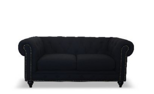 SOLOMONIA  TWO SEATER (2S) VELVET   FABRIC SOFA LOUNGE - 800(H) X 1760(W) - (MODEL - 12-15-21-9-19-91-14-1) - BLACK