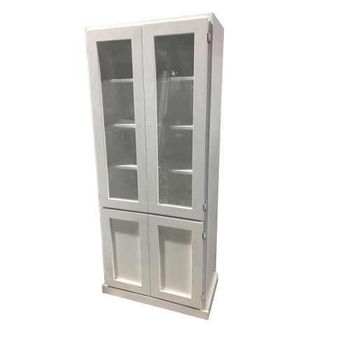 RETRO 4 DOOR SOLID TIMBER LIBRARY UNIT - 2100(H) X 900(W) - WHITE
