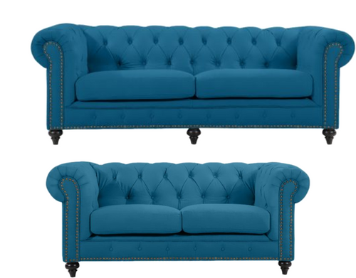 SOLOMONIA 3S + 2S  FABRIC LOUNGE SUITE - (MODEL-3-8-5-18-19-5-18-6-9-5-12-4) - TURQUOISE