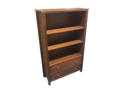 PERFECTION  TALL BOOKCASE  WITH 3 SHELVES &  2 DRAWERS   - OAK