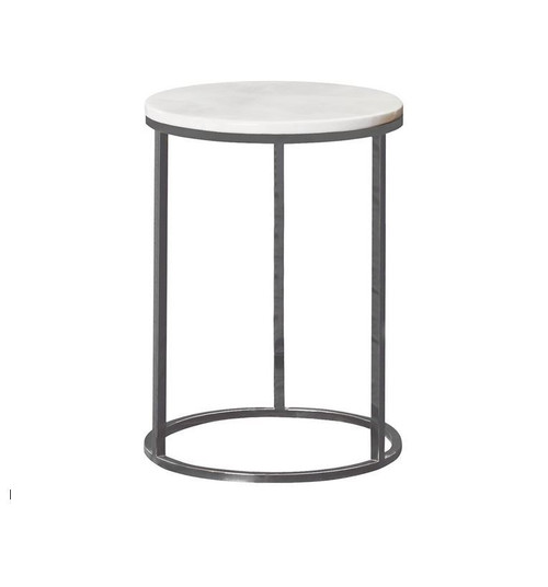 ESTON SMALL  ROUND SIDE TABLE WITH MARBLE TOP  - (MODEL: 9101)  -  AS PICTURED