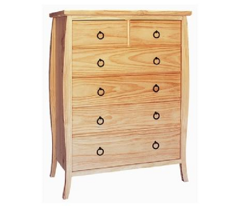 ANNE (AUSSIE MADE) 6 DRAWERS  TOP-SPLIT TALLBOY CHEST - 1280(H) x 950(W) - COLOUR AS PICTURED