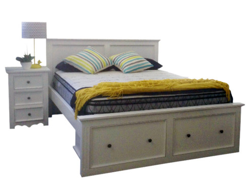 ANZAC KING 4 PIECE TALLBOY BEDROOM SUITE - WHITE