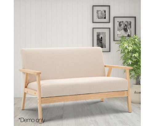 RICKY 2 SEATER FABRIC SOFA CHAIR - BEIGE