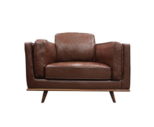 YORK  SINGLE   SEATER LEATHERETTE CHAIR - BROWN