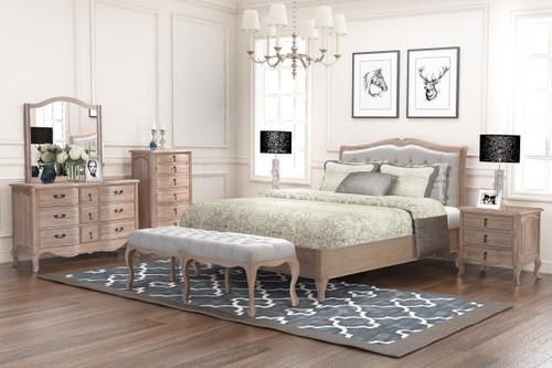 CAMBARIE QUEEN 5 PIECE (DRESSER) EUROPEAN  OAK BEDROOM SUITE - (BENCH EXCLUDED) -  NATURAL