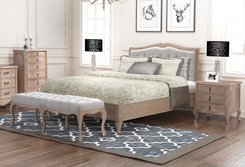 CAMBARIE KING 4 PIECE (TALLBOY) EUROPEAN  OAK BEDROOM SUITE - (BENCH EXCLUDED)  -  NATURAL