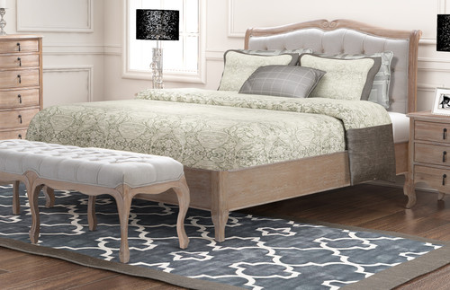 KING  CAMBARIE  BED WITH  UPHOLSTERED BUTTONED BEDHEAD  - (EUROPEAN OAK HARDWOOD)  - NATURAL