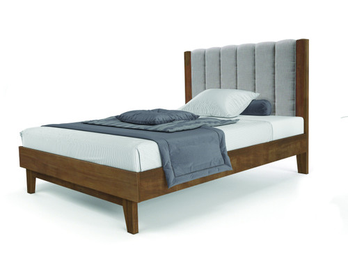 QUEEN AMALIE HARDWOOD BED WITH FABRIC UPHOLSTERED BEDHEAD  - AS PICTURED