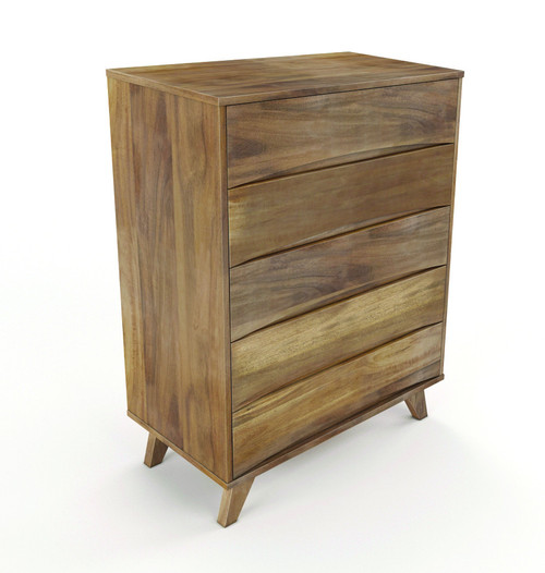 AMALIE 5 DRAWER  HARDWOOD TALLBOY - 1150(H) X 915(W)-AS PICTURED