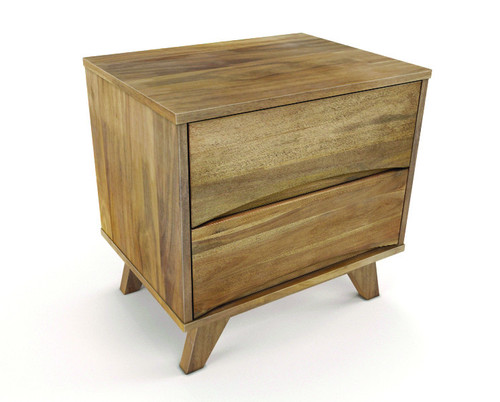 AMALIE 2  DRAWER  HARDWOOD BEDSIDE TABLE  - AS PICTURED