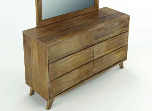 AMALIE 6 DRAWER HARDWOOD DRESSING TABLE ONLY - AS PICTURED