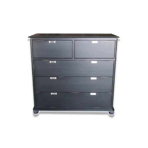 MALLEE  5 DRAWER TALLBOY CHEST - 1265(H) X 1320(W)-BLACK PAINTED / LACQUER FINISH