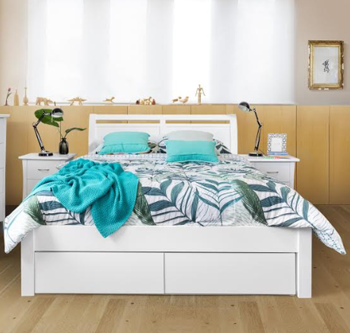 KING SAVANNA  BED WITH 2X FOOT END DRAWERS - (MODEL :5-12-12-1)- WHITE