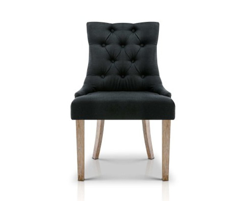 CAYES FRENCH PROVINCIAL FABRIC DINING CHAIR - BLACK