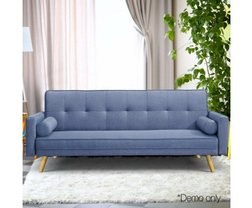 CHANELLE 3 SEATER LINE FABRIC LOUNGE - BLUE