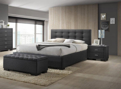 BRONTE KING 3 PIECE  BEDSIDE  BEDROOM SUITE WITH GAS-LIFT BED - DARK GREY