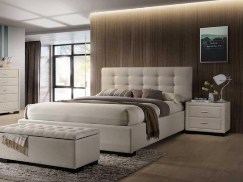 BRONTE KING 3 PIECE  BEDSIDE  BEDROOM SUITE WITH GAS-LIFT BED -LIGHT BEIGE