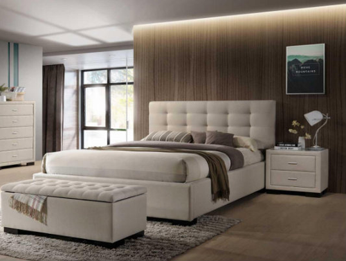 BRONTE KING 4 PIECE  BEDSIDE  BEDROOM SUITE WITH GAS-LIFT BED & STORAGE BOX - LIGHT  BEIGE