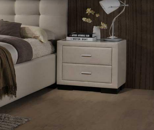 TURRAMURRA 2 DRAWER FABRIC BEDSIDE TABLE (MODEL:6528) - LIGHT BEIGE