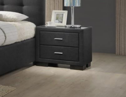 BRONTE 2 DRAWER FABRIC BEDSIDE TABLE   - DARK GREY