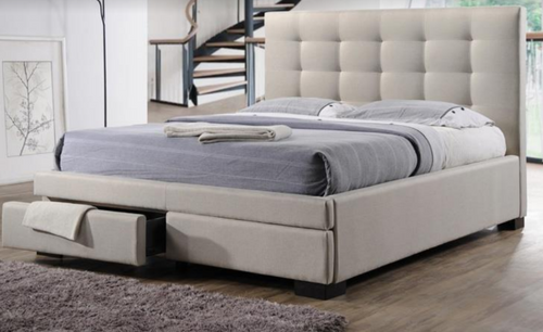 DOUBLE  BRONTE FABRIC  BED WITH 2 DRAWERS  - LIGHT BEIGE