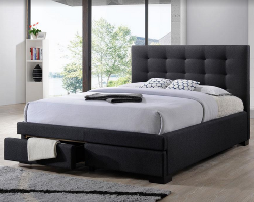 DOUBLE TURRAMURRA FABRIC BED WITH 2 DRAWERS  - DARK GREY