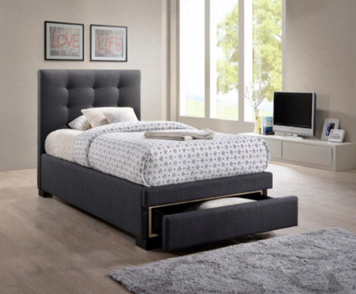 KING SINGLE BRONTE FABRIC BED WITH BED END DRAWER - DARK GREY