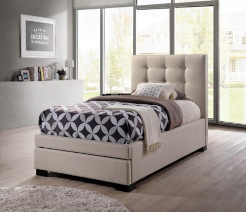 TURRAMURRA KING SINGLE 3 PIECE FABRIC BEDROOM SUITE   - LIGHT BEIGE