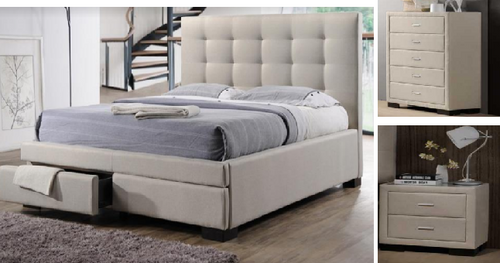 TURRAMURRA DOUBLE OR QUEEN  4 PIECE TALLBOY FABRIC BEDROOM SUITE -  (BED WITH 2 DRAWERS) - LIGHT BEIGE