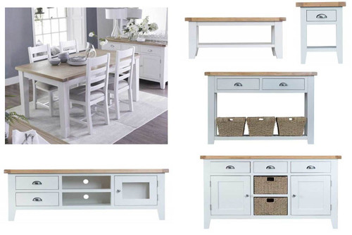 ARBETTA 12 PIECE LIVING & DINING PACKAGE - TWO TONE