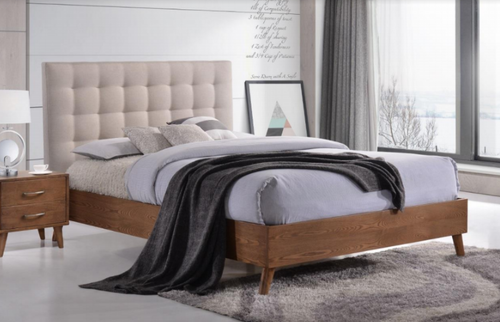 DOUBLE AMINA TIMBER - FABRIC BED - (14-15-15-19-1) - 2 TONE