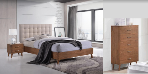 AMINA DOUBLE OR QUEEN 4 PIECE TALLBOY BEDROOM SUITE - (14-15-15-19-1) - 2 TONE