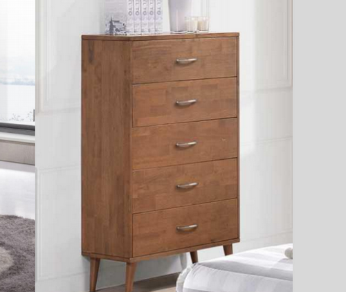 AMINA  FIVE DRAWER TALLBOY - (14-15-15-19-1)  - 1150(H) X 850(W)- WALNUT