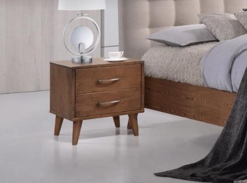 AMINA 2 DRAWER BEDSIDE TABLE - (14-15-15-19-1) - WALNUT
