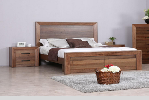 BLYTHE QUEEN 3 PIECE (BEDSIDE) BEDROOM SUITE WITH FOOT END DRAWERS - WORMY OAK