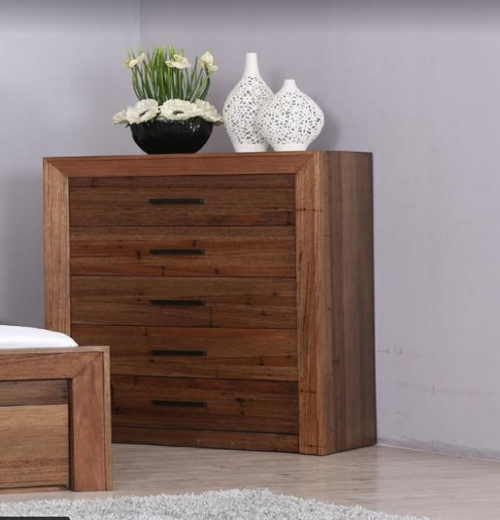 BERKSHIRE   FIVE DRAWER   TALLBOY CHEST -  1205(H) X 1000(W) -WORMY OAK