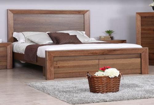 KING BLYTHE BED WITH 2 BED END DRAWERS  - WORMY OAK