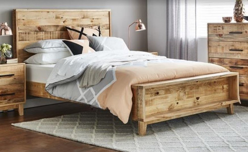 KING CRONULLA SOLID TIMBER BED - RUSTIC