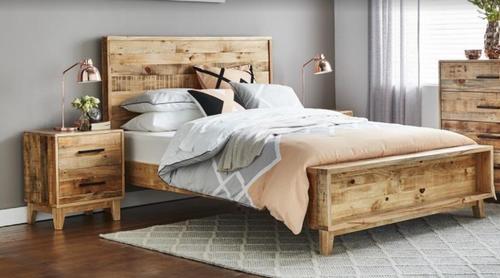 CRONULLA DOUBLE OR  QUEEN 3 PIECE BEDSIDE  BEDROOM SUITE - RUSTIC