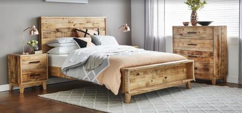 CRONULLA  DOUBLE OR QUEEN  4 PIECE TALLBOY  BEDROOM SUITE - RUSTIC