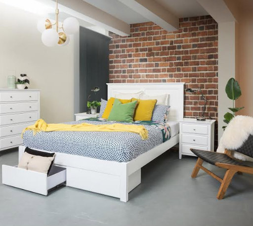 COCO KING 3 PIECE BEDSIDE BEDROOM SUITE - (BED WITH FOOT END DRAWERS) - WHITE