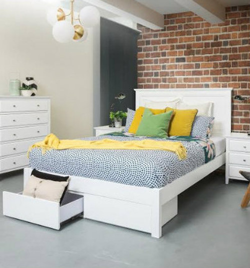 DOUBLE  BALLINA BED WITH TWO FOOT DRAWERS - WHITE