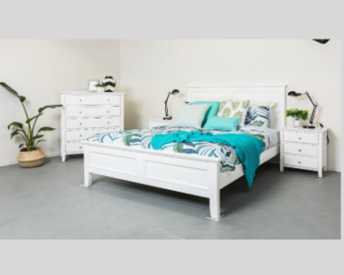 BALLINA KING 3  PIECE BEDSIDE   BEDROOM SUITE  - (BED WITHOUT FOOT DRAWERS) - WHITE