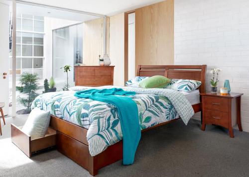 SAVANNA DOUBLE OR QUEEN 4 PIECE TALLBOY BEDROOM SUITE  (MODEL: 5-12-12-1) - WALNUT OR DARK CHOCOLATE