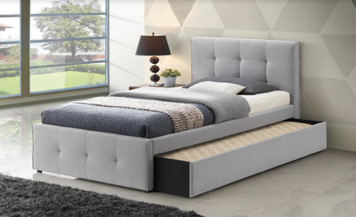 SINGLE APRIL / TURRAMURRA LINEN FABRIC BED WITH SINGLE TRUNDLE BED - SILVER GREY