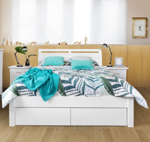 DOUBLE  SAVANNA BED WITH 2 FOOT  DRAWERS - (MODEL:5-12-12-1)  - WHITE