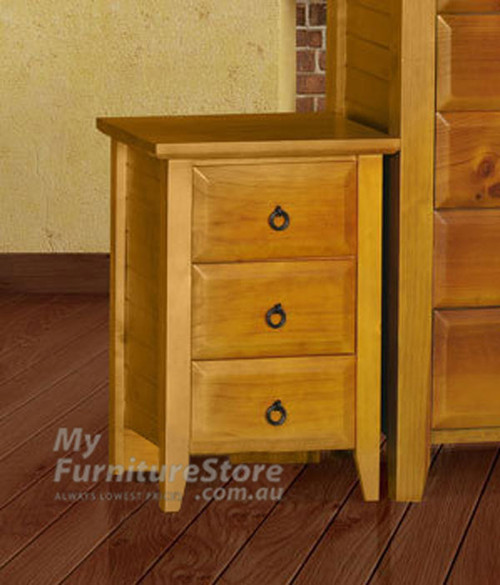 MANILLA (AUSSIE MADE) 3 DRAWER BEDSIDE TABLE - ASSORTED COLOURS