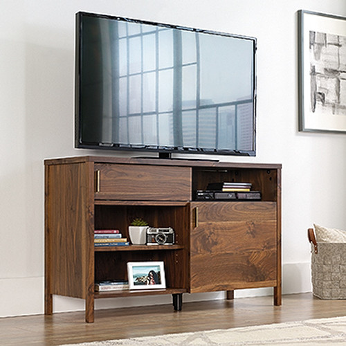 HARVEY PARK  HIGH TV STAND  WITH 3 SHELVES AND DOOR - 737(H) X 1170(W) -WALNUT